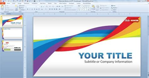 Widescreen Rainbow Template For Powerpoint Presentations Free Template Powerpoint 2010