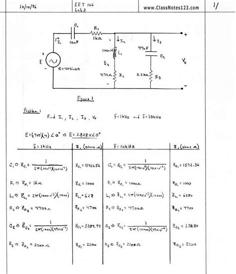 resistors in series and parallel circuits lab rlc series and parallel circuits lab notes 1