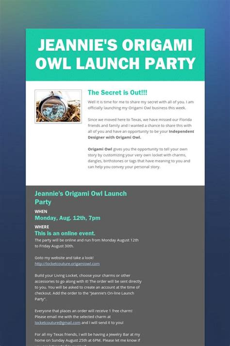 Origami Owl Launch - jeannie s origami owl launch o2