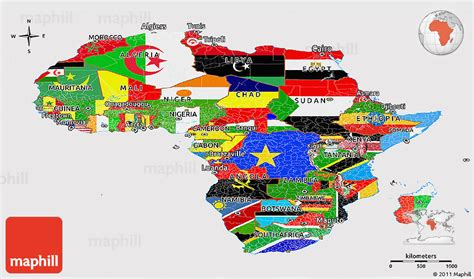 africa map flags flag panoramic map of africa