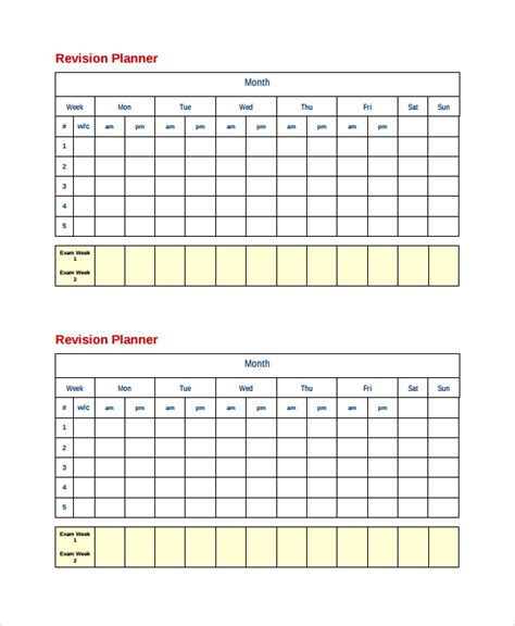 printable revision planner homework timetable printable