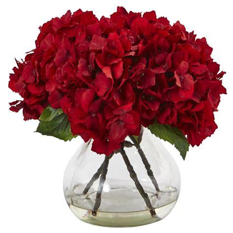 silk flower arrangements nearly natural red hydrangea with vase silk flower