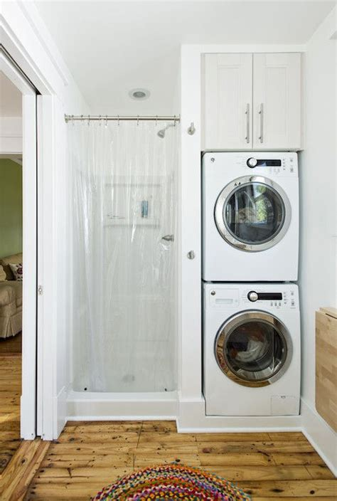 small stackable washer and stacked washer and dryer and small shower 2nd bathroom