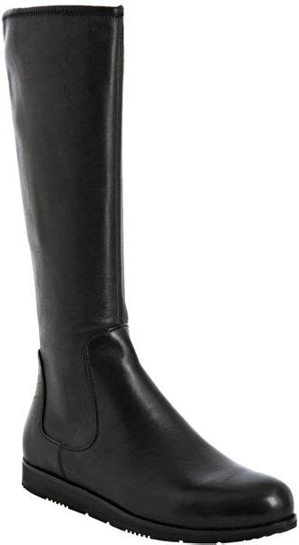 prada sport black leather flat boots in black lyst