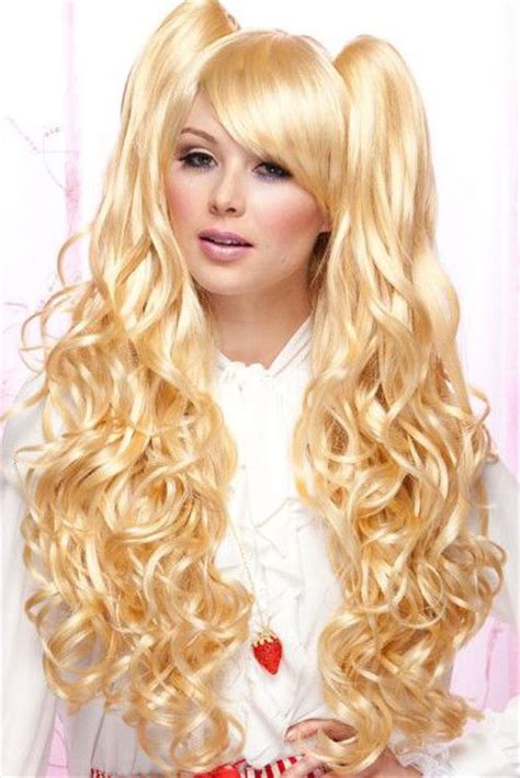 bimbo hairpieces joi wig long curly wig with 2 detachable ponytail hair
