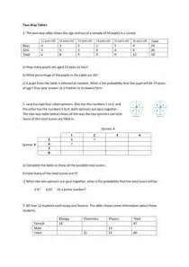 two way tables worksheet by fionajones88 teaching