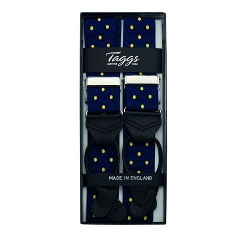 Ready Stock New Arrival Eliza Polcadot Luxury luxury polka dot jacquard braces leather ends navy