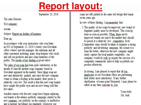 layout of a report english language business report layout how to format cover letter