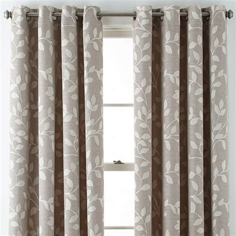 leaf pattern curtain rods jcpenney home quinn leaf grommet top curtain panel jcpenney