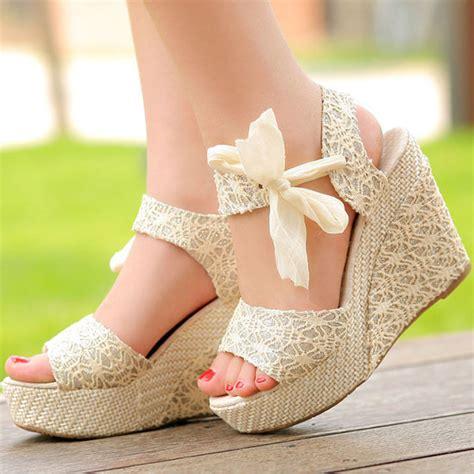 summer womens high heel wedge platform sandals bowknot