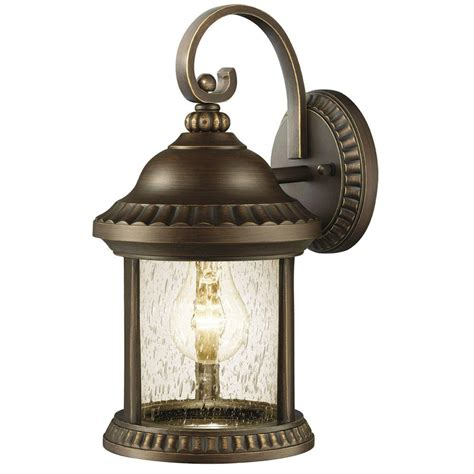 Landscape Lights Home Depot Hton Bay Cambridge Collection 1 Light Outdoor Essex Bronze Small Wall Lantern Gem1689as 2