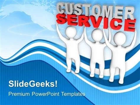 customer service powerpoint templates teamwork 3d lifting the words customer service ppt