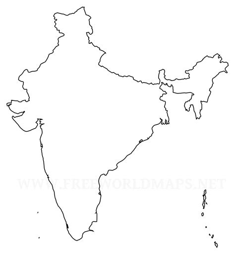 India Maps Outlines Blank by Blank Outline Political Map Of India Bamboodownunder