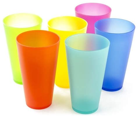 Red Apple Kitchen Decor - 6 pack reusable colorful plastic cups party picnic drinking cups contemporary everyday