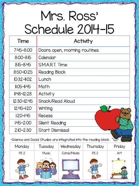 kindergarten timetable template best 25 grade schedule ideas on