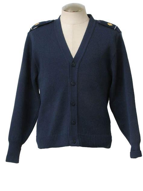Sweater Blue Army 1980s caridgan sweater 80s equipment