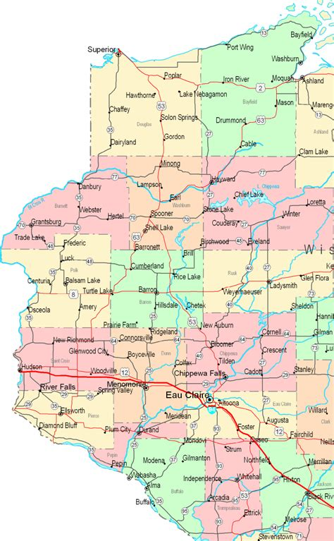 printable map of central map of wisconsin central west