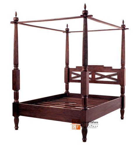 Bali Antique Canopy Beds Frame Solid Teak Wood Colonial Antique Style Bed Frame