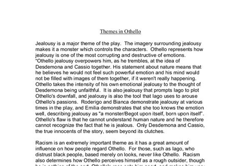 themes found in othello othello themes essay gcse english marked by teachers com