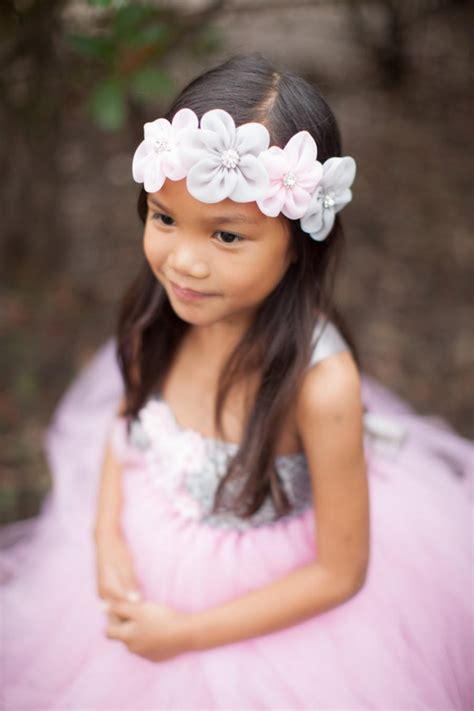flower headband pink grey headband pink gray flower wedding newborn photo