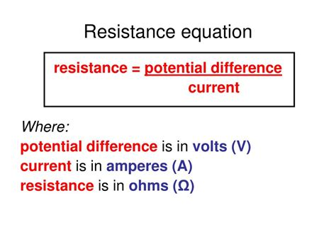 resistor equations ppt aqa gcse physics 2 5 current electricity powerpoint presentation id 418298