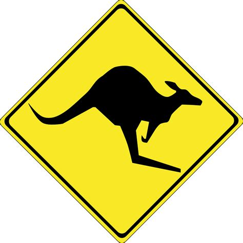 printable road signs australia free vector graphic kangaroo animal australia free