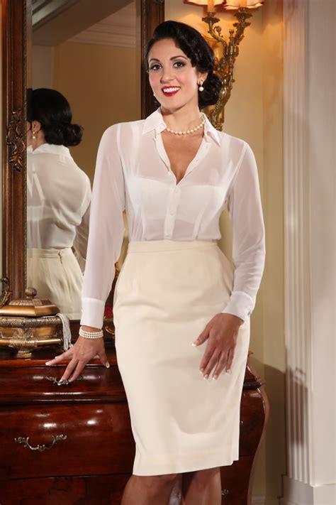 Black Bra Sheer White Blouse by Buy Pencil Skirts