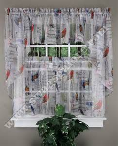 Bird Kitchen Curtains Tweet Is A Themed Styles Curtain Song Birds Letters Postage Sts Musical Notes Printed On