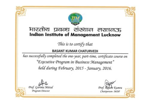 Iim Lucknow Executive Mba Programs by Iim Lucknow Ebpm Certificate Rotated
