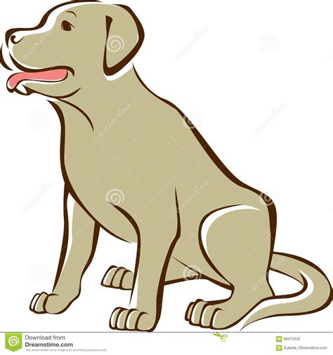 Golden Retriever Sitting Outline by Golden Retriever Outline Drawing Stock Vector Image 96473533