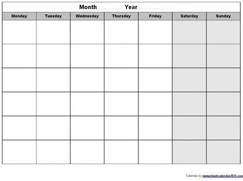 Blank Monday Through Friday Calendar Free Calendar Template Free Monday Through Friday Calendar Template