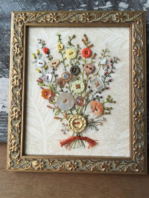 Handmade Embroidery For Sale - my embroidered antique button bouquet for sale on