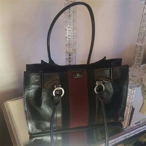 Aigner Bari Df 02 Leather Black 79 etienne aigner handbags etienne aigner black cranberry leather suede tote from marlene