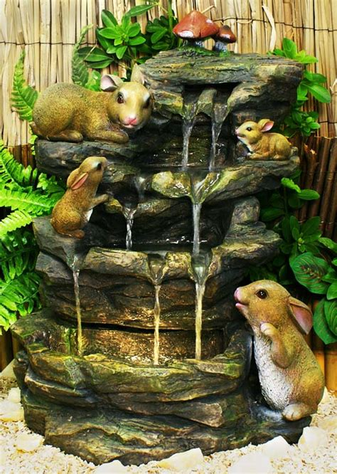 bunny bubbling brook water feature   halogen light