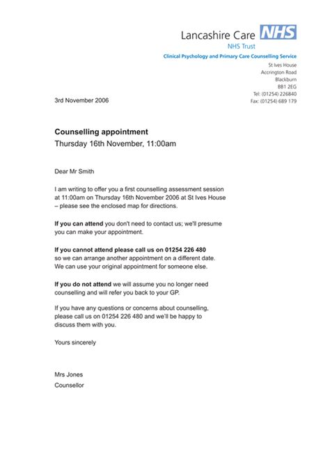 nhs appointment letter robert hempsall information