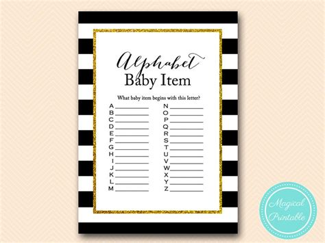 gold glitter black stripes baby shower games magical