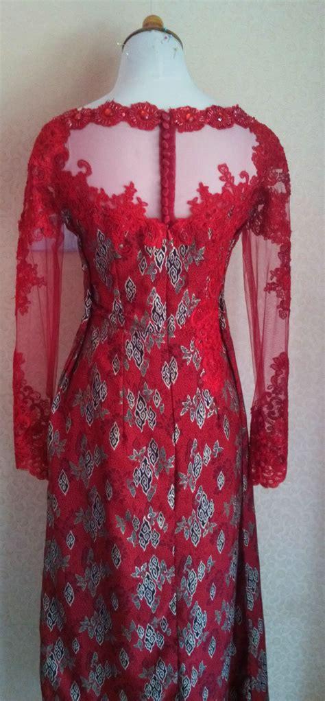 Kebaya Bordir Merah dress batik merah dengan bordir