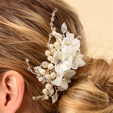 Wedding Flower Hair Comb side bridal comb wedding hairpiece with