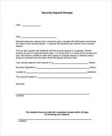 Receipt Of Deposit Template Sample Security Deposit Receipt 8 Free Documents