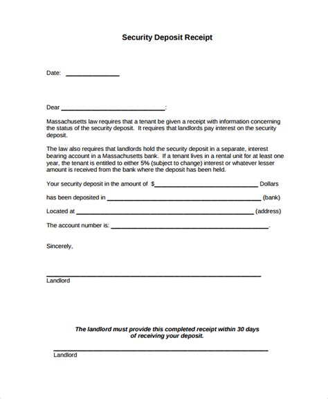 security deposit receipt chicago template sle security deposit receipt 8 free documents