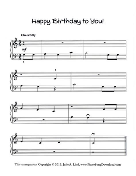 printable sheet music happy birthday happy birthday to you free piano sheet music to print