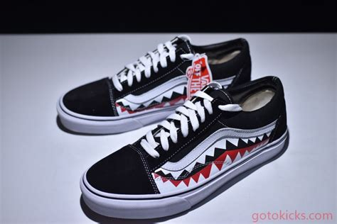 Vans Oldskool Bape White Shark Mouths bape x vans skool vans shark mouths fear of god