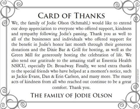 thank you letter after funeral for newspaper jodie family quot thank you quot duluth news tribune