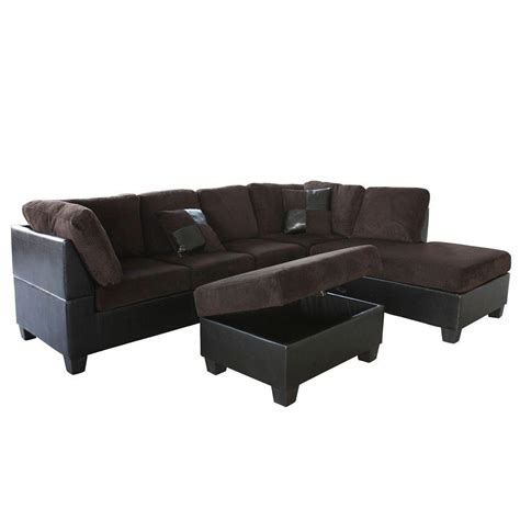 Corduroy Sectional Sofa Venetian Worldwide Corduroy Sectional Sofa With Right Ottoman In Chocolate Brown