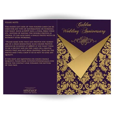Wedding Anniversary Cards Email by Any Anniversary Invitation Card Optional Photos Purple
