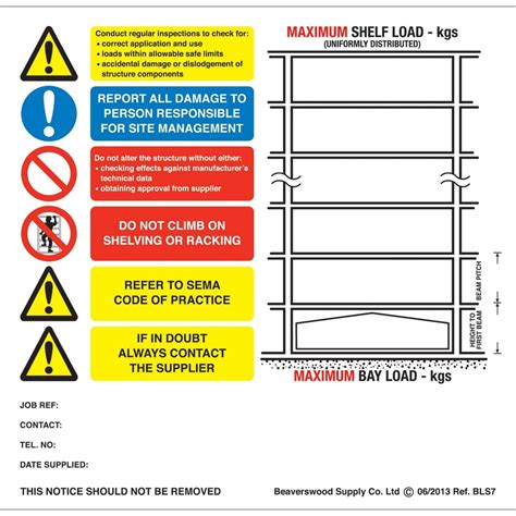 pallet racking weight load notices parrs workplace