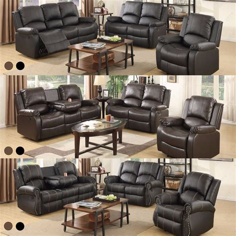 recliner living room sofa set loveseat couch recliner leather 3 2 1 seater