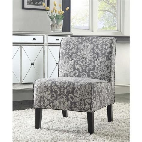 Grey And White Accent Chair by Linon Coco Grey Damask Accent Chair