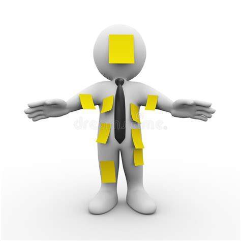 stock illustration of 3d man with safety equipment on 3d man cover with sticky notes stock illustration