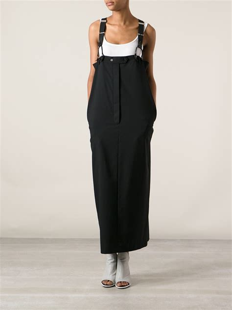 jean paul gaultier suspenders high waist skirt in black lyst